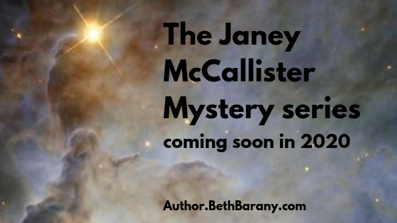 """on a star field announcing """"The Janey McCallister Mystery series coming soon in 2020"""""""