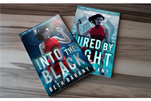 image of 2 book covers, Into the Black and Lured By Light by Beth Barany